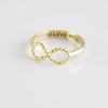I Love You infinity ring in gold us size 5 - 8