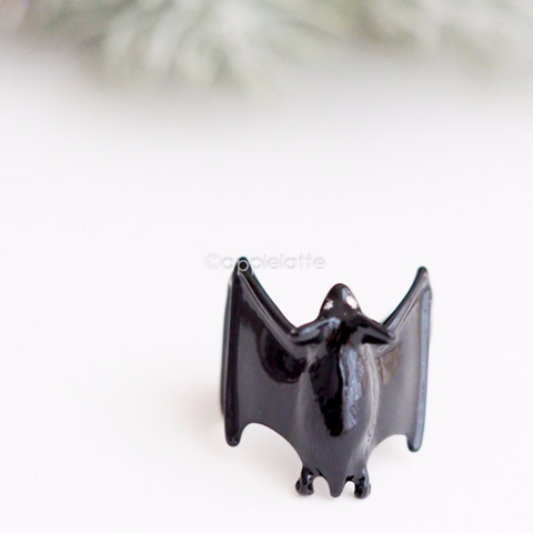 black bat ring, bat jewelry, vampire bat ring, steampunk jewelry, animal ring