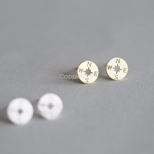 tiny compass earrings in gold or silver, compass studs, compass post earrings, travel jewelry