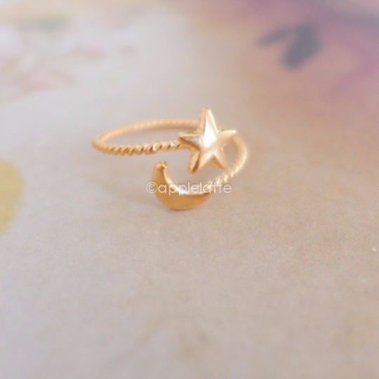 Star and Moon Ring, Love you to the Moon & stars wrapped ring in gold or silver