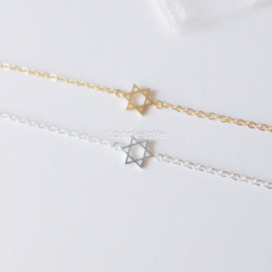 tiny star of David bracelet in gold or silver, star bracelet, David bracelet