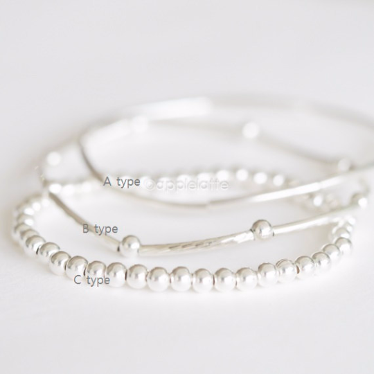 sterling silver bead stretch bracelet, minimal ball bracelet, stacking bracelets, sterling silver 925 bracelet, bridesmaid gift
