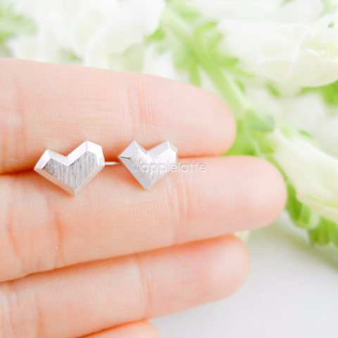 3d heart earrings