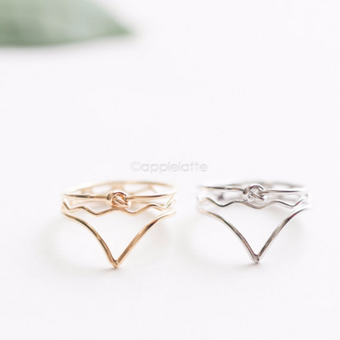 Chevron Knot Ring, Chevron Ring, simple V ring, geometric ring, triangle ring, casual ring, heart knot ring, love ring, stacking ring