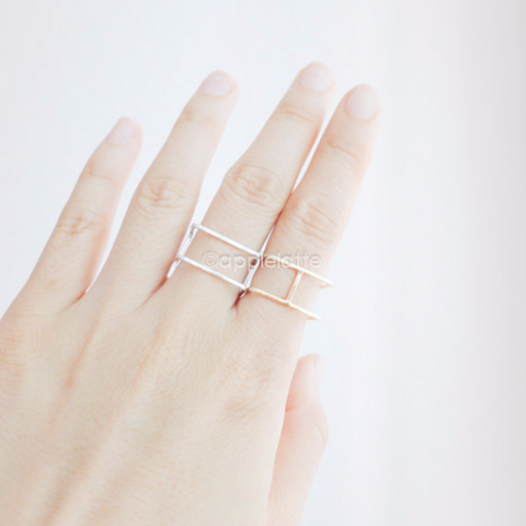 square ring, geometric jewelry, simple ring