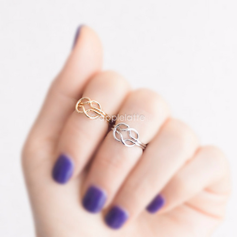 Infinity Knot knuckle ring,love knot knuckle ring,infinity knot  midi ring, memory eternity ring, tie the knot