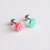Flower Barbell Cartilage, Rose Tragus Ear Piercing,16 Gauge,Cartilage Earring,Single Earring,Tragus earring,Screw Back,Helix earring_P059
