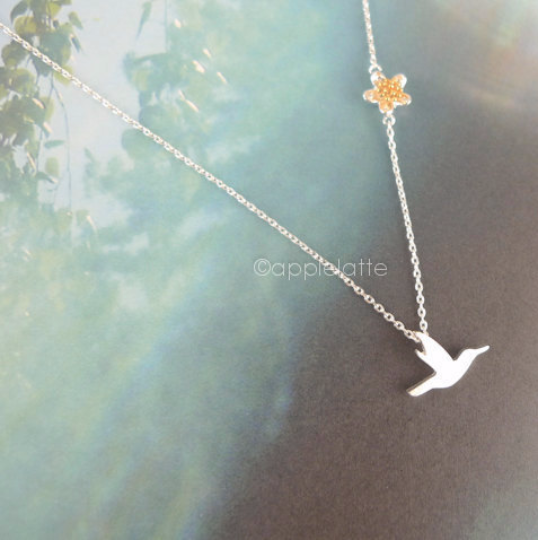 Bird Necklace With Flower