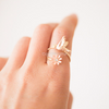Bird Ring with Flower in silver/ gold/ pink,  sparrows ring, bird ring, flower ring, bird jewelry