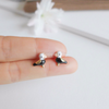 tiny cute pelican earrings, black bird post earrings, bird earrings, pelican jewelry