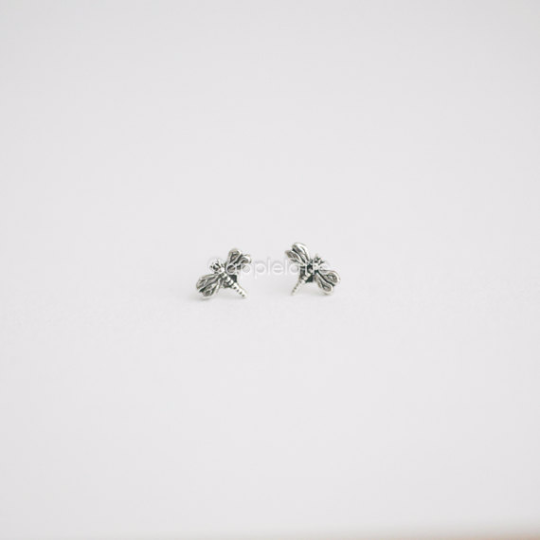 Dragonfly Earring Studs in sterling silver 925, Dragonfly jewelry, tiny post earrings