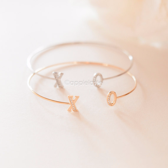 XO bracelet, XO bangle, kiss & hug bracelet, hugs and kisses jewelry, bridesmaid gift, white CZ bracelet
