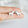 tiny cute unicorn earrings, mint blue pink post earrings, horse earrings