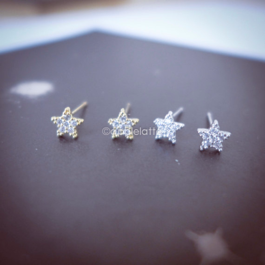 tiny crystal star earrings, star post earrings, sparkle star studs
