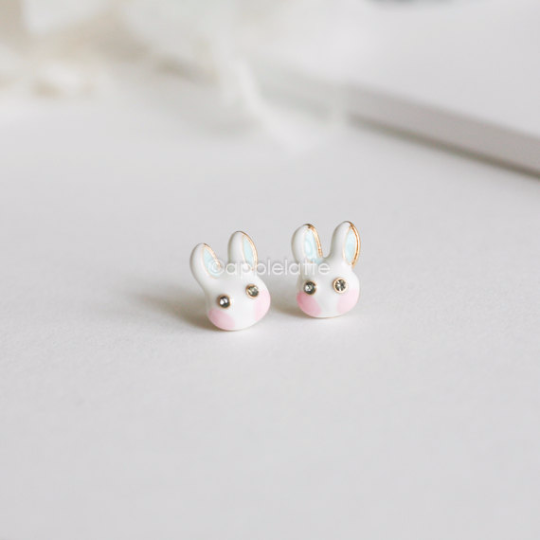 cute bunny earrings, blue pink bunny post earrings, rabbit earrings