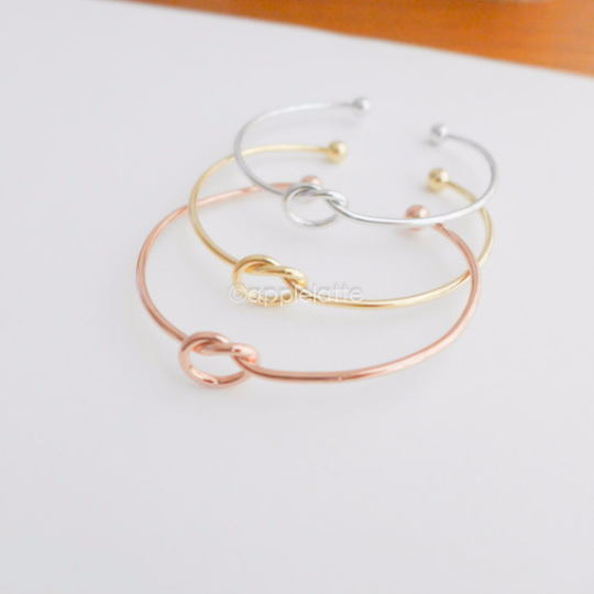 love knot bracelet, knot bangle, cuff, stretch bracelet