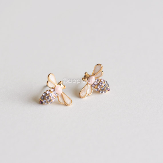 swarovski crystal pink purple bumble bee earrings, cute honeybee post earrings, bee jewelry, purple earrings, pink earrings