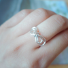 cute wire bow ring in gold or silver, bow ring, ribbon ring, bow band