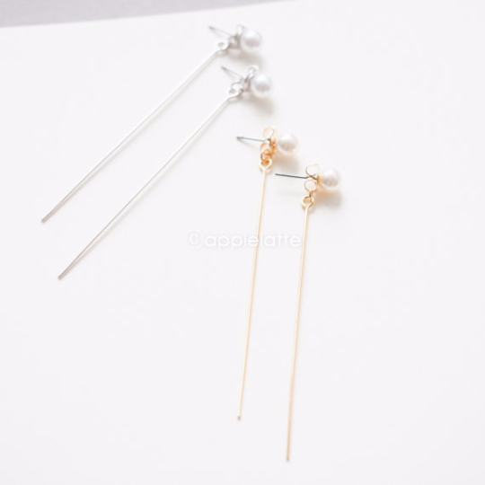 Preferred slim long bar with pearl earrings in gold or silver, gold bar  GK92