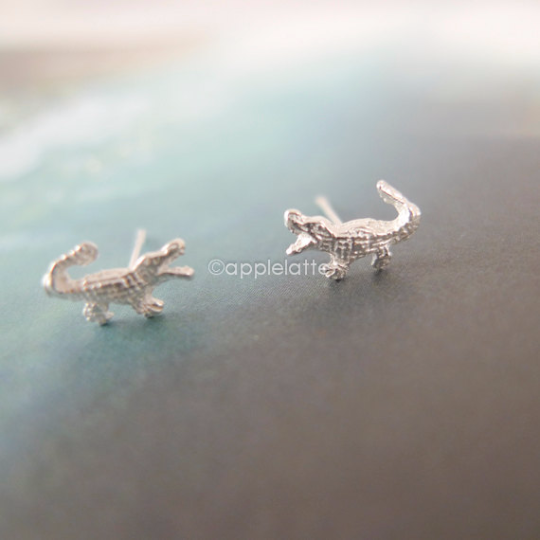crocodile earrings in sterling silver 925, alligator post earrings
