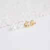 love knot earrings, tiny knot post, ball earrings, simple  jewelry