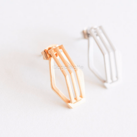 3D Geometric Hexagon Earrings, bridesmaid gift, geometric studs, line earrings, simple post earrings