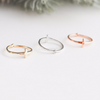 double sided ring, cross ring, cross knuckle ring, cross pinky ring, cross midi ring, single stone simple band
