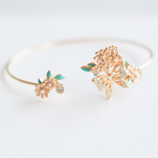 flowers with butterfly bracelet, pink flower bracelet, crystal butterfly cuff, butterfly bangle, sweet bracelet, nature jewelry