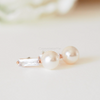 pearl earrings with swarovski crystal, pearl post Earrings, pearl studs, bridesmaid gift, clear stone earrings