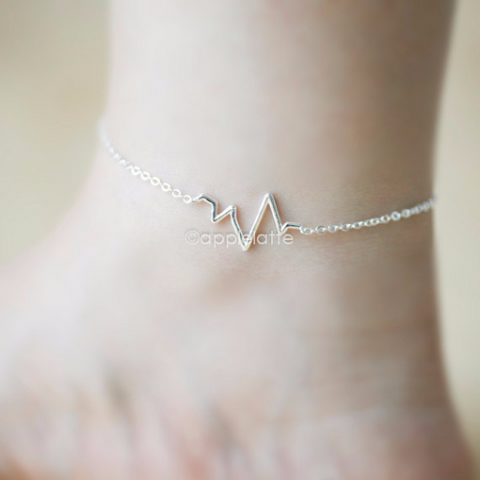 heartbeat anklet in gold or silver, heart beat anklet