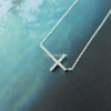 Crystal Sideways Cross Necklace