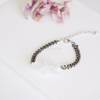 Natural Crystal Quartz Bracelet, Rough Cut Gem Bracelet, boho chic jewelry, clear stone bracelet, chain bracelet