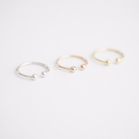 Double Ball knuckle ring in Gold/Silver/Rose Gold, midi ring, pinky ring, simple ring, casual ring