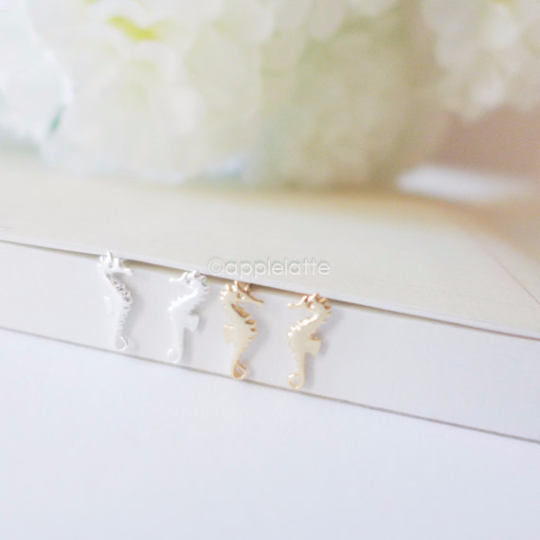 tiny seahorse earrings, seahorse jewelry