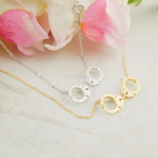 Handcuff Necklace With Heart Key