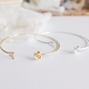 rose with butterfly bracelet in gold or silver, rose cuff, butterfly bangle