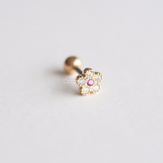 Shiny Flower Barbell Cartilage_P055