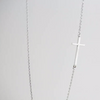 Sterling Silver 925 Sideways Cross Necklace