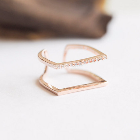 Double Line Square Ring, Geometric Ring, Contemporary Ring, Statement Ring, Party Ring, CZ Stone Ring, Stacking Ring, Simple Ring_R008