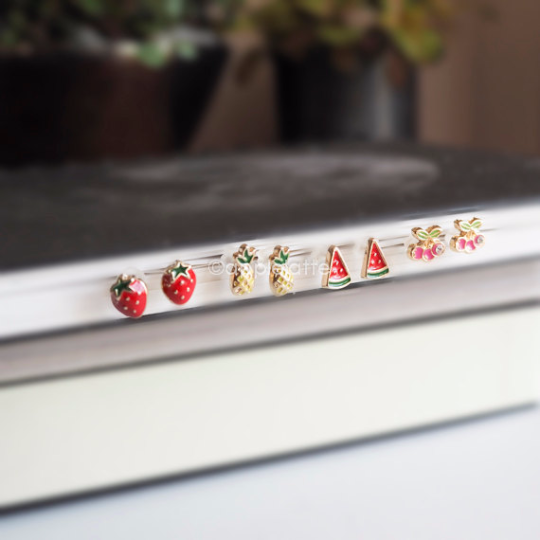 strawberry/ pineapple/ watermelon/ cherry post earrings, fruit stud earrings, colorful earrings