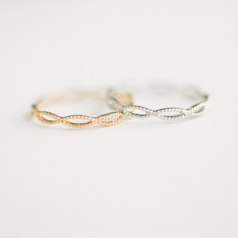 infinity ring, band ring, stackable band, infinity all around ring