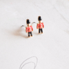 British Royal Soldier post earrings,  toy soldier earrings, black/ red studs, black post earrings, red post earrings