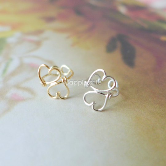 heart ear cuff, heart ear wrap, heart cartilage cuff, double heart wire ear cuff