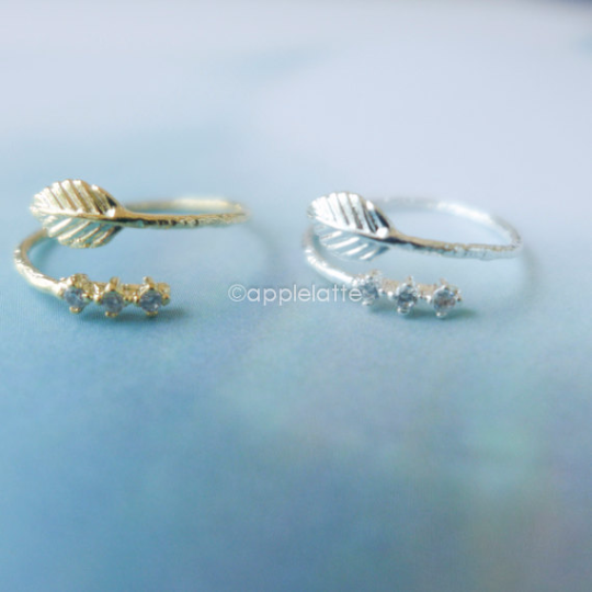 leaf ring with rhinestones, leaf knuckle ring, leaf midi ring, leaf pinky ring