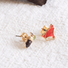 Cute Fox Earrings, Acorn Earrings, Acorn Studs, Forest Jewelry, Mis match Earrings, Orange Brown Earrings, Animal Nature Love Jewelry_E005