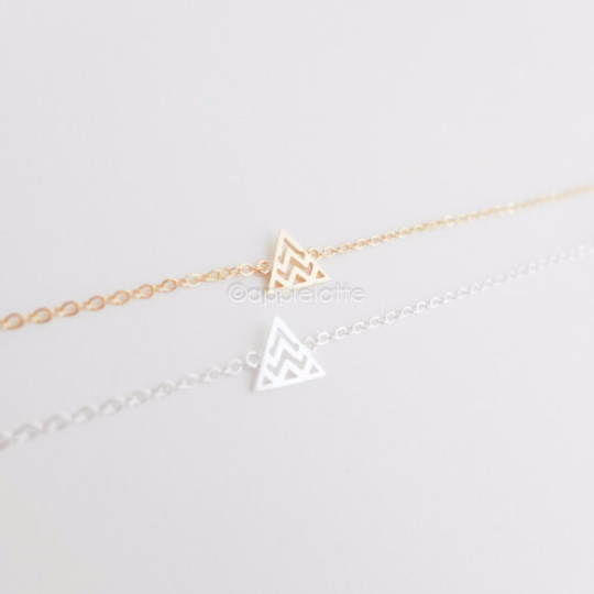 tiny wave Chevron  triangle bracelet in gold or silver, chevron bracelet, layering bracelet