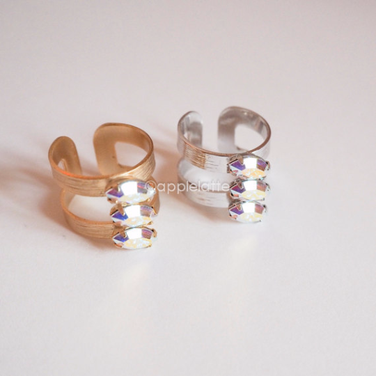 3 line metal ring with swarovski crystal stones