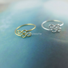 double infinity ring, infinity toe ring, infinity knuckle ring, infinity pinky ring in gold or silver