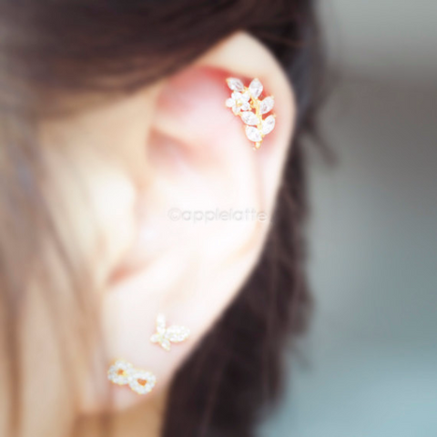 CZ Leaf Branch Cartilage Piercing_P081