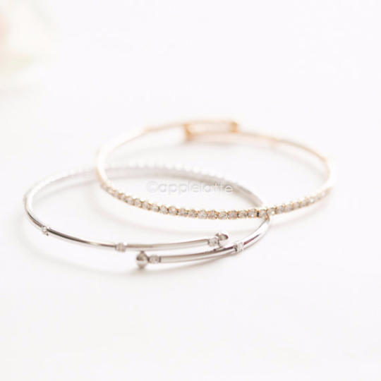 minimal crystal bracelet in gold or silver, dainty cuff, stacking bangle, bridesmaid gift, ball bangle, ball cuff, crystal ball bracelet